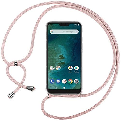 Ingen Funda con Cuerda para Xiaomi Mi A2 Lite - Carcasa Transparente TPU Suave Silicona Case con Colgante - Rosa