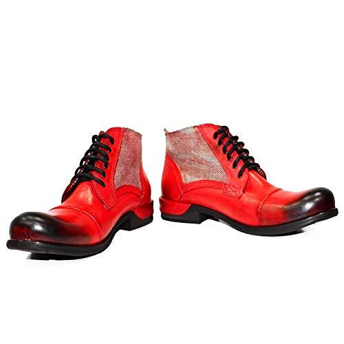 PeppeShoes Modello Quecello - EU 46 - US 13 - UK 12-30,8 cm - Handgemachtes Italienisch Bunte Herrenschuhe Lederschuhe Herren Rot Stiefel Stiefeletten - Rindsleder Handgemalte Leder - Schnüren