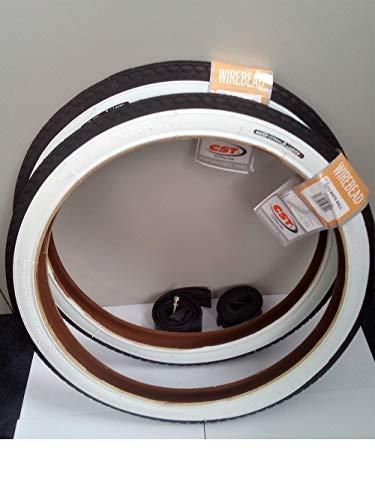 CST 2X Weißwand Reifen 20 Zoll 20 x 1.75 | 47-406 (schwarz/weiß + 2 Schläuche DV Ventil