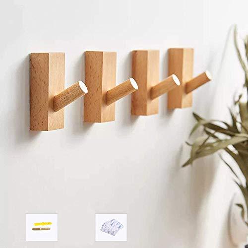 HomeDo Adhesive Wall Hooks Rack, Kleiderhaken aus Holz, Wandmontage, dekorative Haken aus Holz, Vintage Single Organizer Hut Haken Hut Kleiderbügel Handtuchhalter(Buche-Rechteck-4er Set)