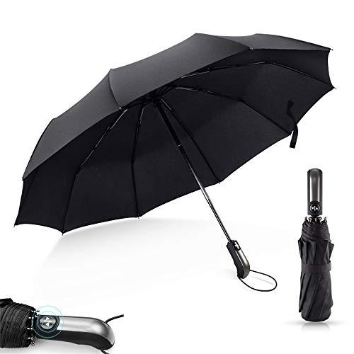 JIASHU Vollautomatischer Business-Regenschirm, Winddichte Klappschirme, kompaktes Design, klein, leicht zu tragen, für Regen-, Sonnen- und Windschutz