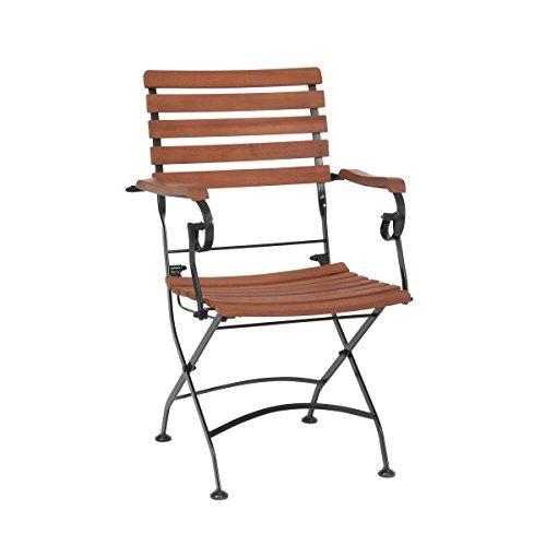 greemotion Klappsessel Borkum akazie, Sessel mit Stahlgestell in Schwarz, klappbarer Gartenstuhl mit Armlehnen, Stuhl aus FSC® zertifiziertem Akazienholz, witterungsbeständig und pflegeleicht