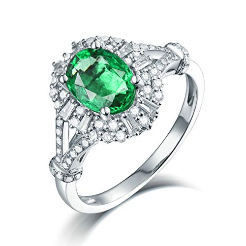 Adisaer Gold Rings Real Gold 18K,Ring for Mom Oval 18K White Gold Women Ring White Gold Anniversary Ring 1.3CT Emerald and 0.47CT Diamond Size J 1/2