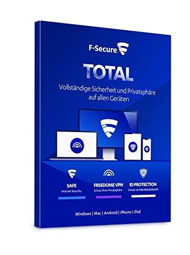 F-Secure TOTAL Security und VPN - 1 Jahr / 3 Geräte für Multi-Plattform (PC, Mac, Android und iOS) [Online Code]