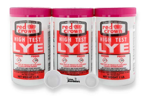 Lye (Sodium Hydroxide) for Soap Making 2lbs, 3-Pack with 4-Way Measuring Spoon