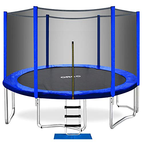 ORCC Trampoline 15 14 12 10 8ft Outdoor Trampoline Weight Capacity 400LBS for Kids Adults with Safety Enclosure Net Wind Stakes Rain Cover and T-Hook, Backyard Trampoline for Family