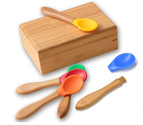 "Bamboo Baby Spoons Set - Premium Organic Feeding Utensils for Toddlers with Bpa Free Soft Silicone Tips, 5 Pack + Gift Box 5.5"" L X 1.5"" W, Red, Blue, Green, Yellow, Orange"