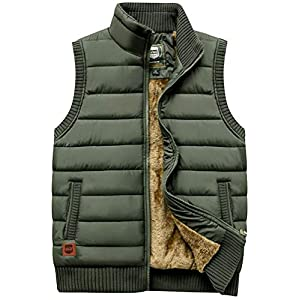 Men's Outdoor Stand Collar Fleece Jacket Vest Casual Padded Vest Coats