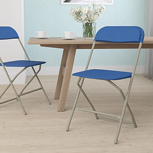 Flash Furniture Hercules Series Plastic Folding Chair - Blue - 650LB Weight Capacity Comfortable...