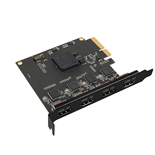 ELECABLE Quad HDMI PCIe Video Capture Card, 4-Channel HDMI Video Recorder Capture for Multi-Channel Live Streaming