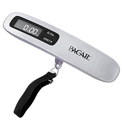 BAGAIL Digital Luggage Scale, Hanging Baggage Scale with Backlit LCD Display, Travel Weight Scale , Portable Suitcase Weighing Scale with Hook, Strong Straps, 110 Lb Capacity, Battery Included (Grey)