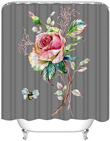 Douchegordijn Sets Kleurrijke Abstracte Aquarel van Rose en Bumblebee Roze Artiest Polyester Stof Decor met 12 Haken Waterdicht Wasbaar 12 Knoopsgaten voor Badkamer