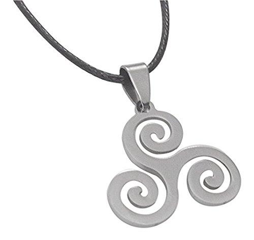 Cuir Dor Collar Colgante Símbolo Triskel Celta de Acero, trisquel + cordón- Máxima Calidad. Vikingo