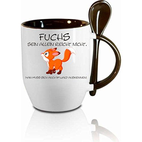 Creativ Deluxe Tasse m. Löffel Fuchs Sein allein reicht Nicht. Löffeltasse, Kaffeetasse mit Motiv,Bürotasse, Bedruckte Tasse mit Sprüchen oder Bildern - auch individuelle Gestaltung nach Kundenwunsch