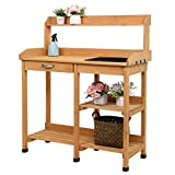 VINGLI Wooden Potting Bench Tables Work Station Table Outdoor Garden Potting Table with Sink Hook Storage Shelf,for Garden Supplies,Natural