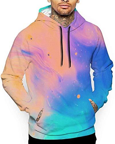 flys 3D gedruckte Mischung Farbe Regenbogen Farbe Tinte Pastell Muster Grafik Hoodies für Männer, Neuheit Pullover Athletic Hooded Sweatshirts, L