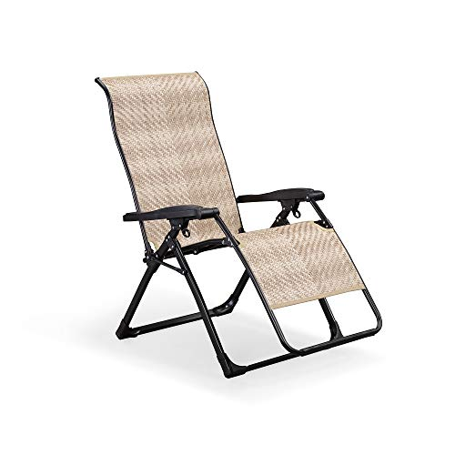 PURPLE LEAF Outdoor Zero Gravity Recliner Chair Patio Wicker Rattan Lounge Chair Outdoor Folding Pool Beach Camping Lawn Chair for Indoor Office Sunbathing Deck, Beige