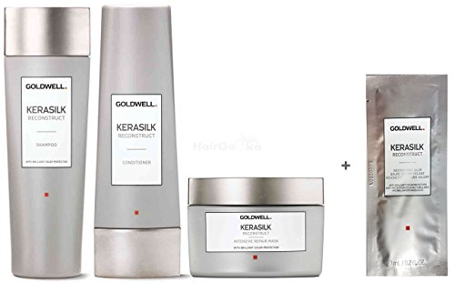 Goldwell Kerasilk Reconstruct Set - Shampoo 250ml + Conditioner 200ml + Intensive Repair Mask 200ml + Restorative Balm Sachet 7ml