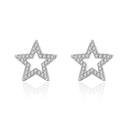 Stars Earrings For Women's, Cubic Zircon Crystal Inlaid Stud Design, Hypoallergenic Materials, Exquisite Birthday Gifts For Girls