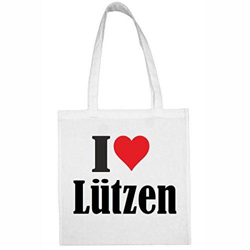 Tasche I Love Lützen Größe 38x42 Farbe Weiss Druck Schwarz