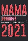 Notizbuch A5 kariert mit Softcover Design: Mama 2021 Loading Babyflaschen Ladebalken werdende Eltern: 120 karierte DIN A5 Seiten