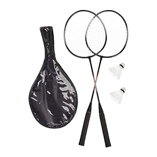 Relaxdays Badmintonset, 4 Badmintonschläger, 4 robuste Bälle, Federballschläger für Kinder und Erwachsene, HxB: 66 x 20,7 cm, grau