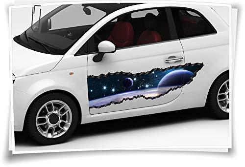 Medianlux Auto-Aufkleber Seitenstreifen Weltall Planeten Sterne Erde Airbrush Folie Tuning Car-Wrapping Luftkanalfolie Digitaldruck Folierung
