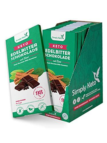 Simply Keto Low Carb Chocolate con cannella e 60% di cacao - cioccolato fondente senza zucchero - dolcificato con eritritolo-Stevia invece di zucchero - solo 5g di carboidrati netti per 100g