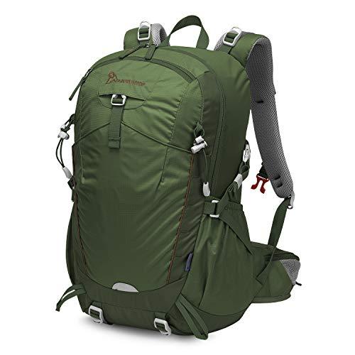 MOUNTAINTOP 35L Zaino Trekking Outdoor Multifunzione Zaino per Uomo Donna da Escursionismo Campeggio Viaggio Zaini con Copertura della Pioggia, Army Green