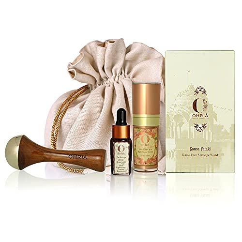 Ohria Ayurveda Bridal Daily Ritual Shrikamya Face Beauty Oil 10 Ml, Brmhana Night Repair Serum 15 Ml, Kansa Vataki Face Wand 1 Pc (3 Items In The Set)