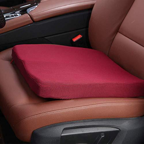 YLCJ Car Memory Foam Kussen voor zitting, Ademend Auto Compleet met stoelhoezen Geventileerde Orthopedische kussens om de hoogte te verhogen - Rood 45 * 38 * 11cm (18 * 15 * 4in)