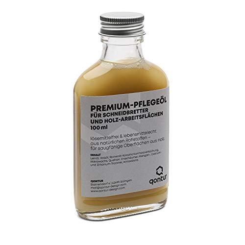 QONTUR Premium-Holzöl lebensmittelecht für Schneidebretter und Holz-Arbeitsplatten, lösemittelfrei, aus natürlichen Rohstoffen, Holz Öl für innen, 100 ml