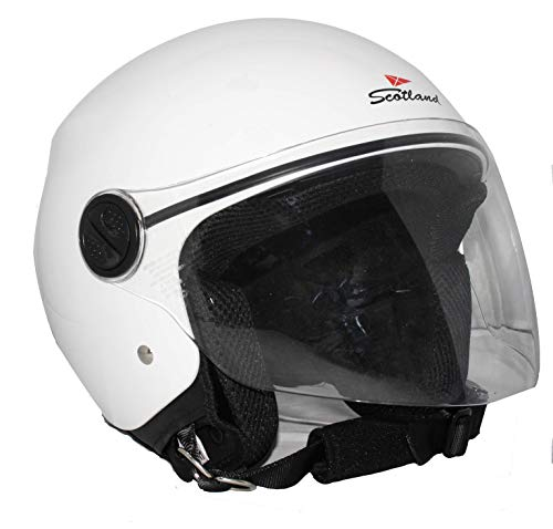 Scotland Motorcycle Dept 120013 NEW Restyling casco moto scooter visiera lunga, Bianco, M