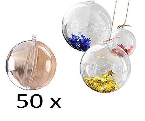 FAIRY TAIL & GLITZER FEE duże opakowanie 50 sztuk 6 cm plastikowe kule do napełniania dzielone akrylowe 60 mm małe bombki z tworzywa sztucznego bombki bożonarodzeniowe