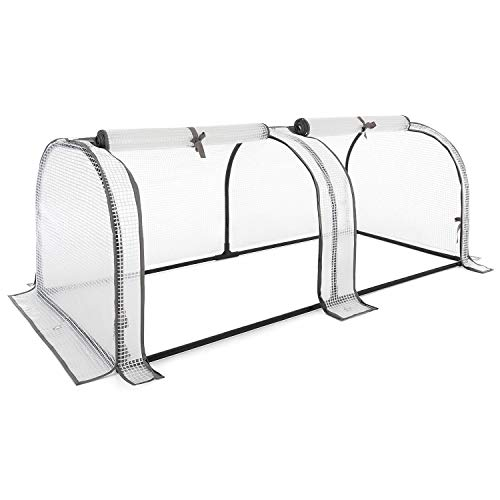CHRISTOW Grow Tunnel Greenhouse, Garden Polytunnel, Outdoor Fruit Vegetable Cloche, UV-Resistant Reinforced PE Cover, Ground Pegs, 130cm, 195cm, 260cm Long