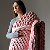 "DIRUNEN Chunky Knit Blanket Merino Wool Arm Knitted Throw Super Large Hand-Made Knitting Yarn Pet Bed Chair Sofa Yoga Mat Rug Pink 40""×59"""