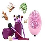 juego 12 brochas de maquillaje con estuche lila sombra pinceles delineador brush colorete, corrector de polvo de REGALO limpiador masajeador exfoiante eléctrico silicona organica