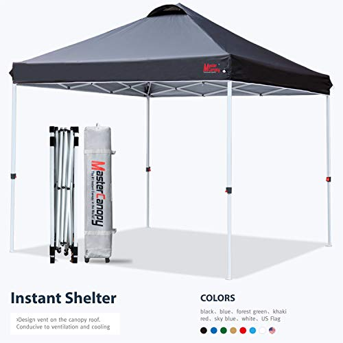 MASTERCANOPY Pop-up Canopy Tent Commercial Instant Canopy with Wheeled Bag,Canopy Sandbags x4,Tent Stakesx4(Black)
