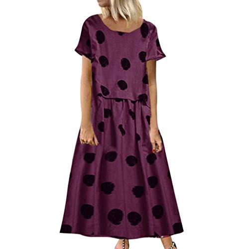 COZOCO Mujeres Vintage Casual Lunares de impresión O-Cuello Manga Corta más tamaño Vestido Maxi de Verano (EU-34/CN-S, Wine)