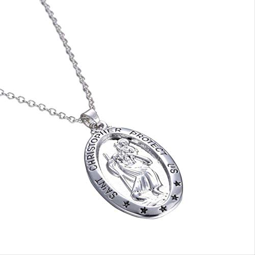 VAWAA Trendy St. Christopher Pattern Oval Pendant Necklace Women's Necklace Fashion Clavicle Chain Pendant Accessories Party Jewelry