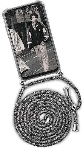 ONEFLOW® Handykette + Hülle passend für Samsung Galaxy A40 | Stylische Kordel Kette - Kristallklare Handyhülle mit Band zum Umhängen in Schwarz Grau Weiß