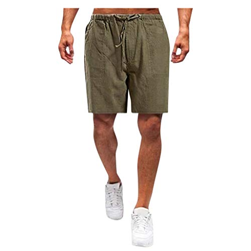 Forthery-Men Linen Shorts Casual Elastic Waist Drawstring Yoga Beach Trousers Pants(Brown,XXXXL)