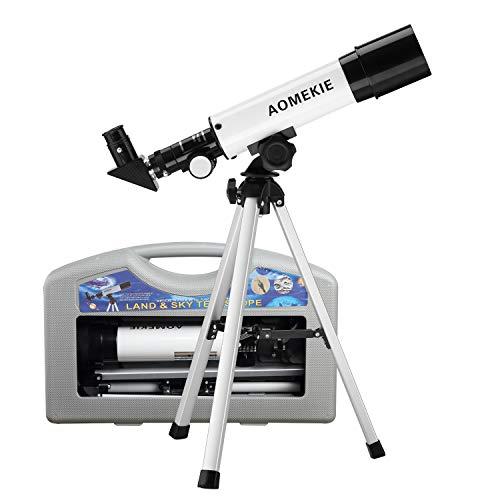 AOMEKIE Telescopio para niños adultos Astronomía Principiantes 50 mm Refracter Telescopio con trípode y funda, regalo para niños educativos principiantes