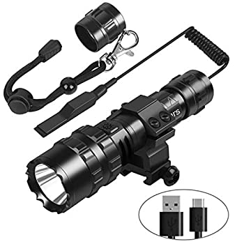 Weitars Tactical LED Flashlight with Picatinny Rail Mount and Tactile Pressure Switch for Outdoor Hunting Fishing,High Lumen Torch Flashlight USB Rechargeable,Water-Resistant 5 Modes Light