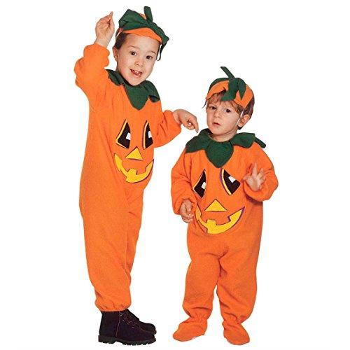 Kinder Kürbiskostüm Halloween Kürbis Kostüm XS 110 cm 3-4 Jahre Halloweenkürbis Kinderkostüm Pumpkin Halloweenkostüm Gemüse Faschingskostüm Herbst Mottoparty Verkleidung Karneval Kostüme Kinder
