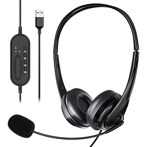 Auriculares USB con micrófono Cancelación de ruido y controles de audio, Jsdoin con cable USB para PC Auriculares súper ligeros y comodidad para conferencias negocios llamadas softphone conversación