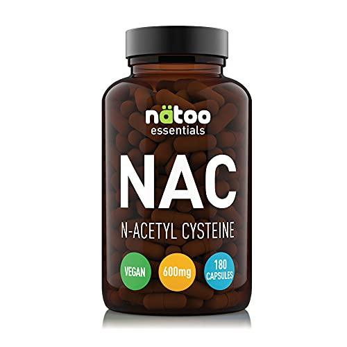 NATOO NAC 600mg 180 Capsule Vegetali, Integratore Alimentare di N-Acetilcisteina, derivato dell'aminoacido L-Cisteina. Precursore dell'antiossidante Glutatione. Adatto per i Vegani.
