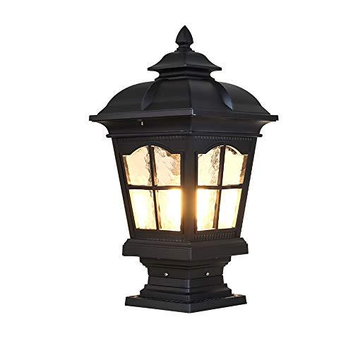 TYDAB E27 Faro de columna impermeable Luz al aire libre LED LED LED Pilar Pilar Lámpara al aire libre Europeo Retro Wall Garden Post Light (Color : Black)