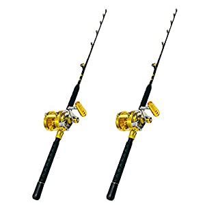 EatMyTackle 30 Wide 2 Speed Fishing Reels on 30-50 Pound Tournament Rods (2 Pack)