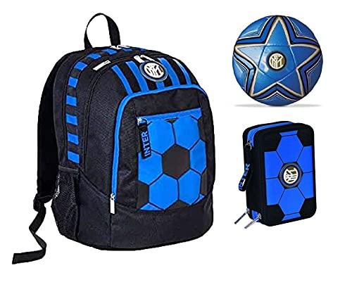 Mochila escolar del F.C. Inter de color negro y azul, redonda, nueva colección Seven + estuche de 3 cremalleras completo Cross&Go + balón y llavero de fútbol